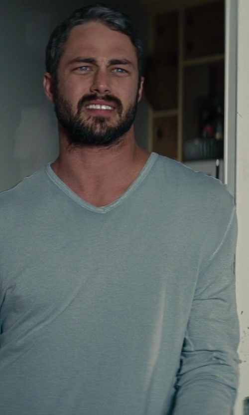 Taylor Kinney with Tasc Performance Men's Clubhouse Long Sleeve V-neck Tee in The Other Woman
