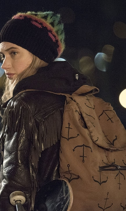 Imogen Poots with Smoking Lily Anchors Backpack in Roadies