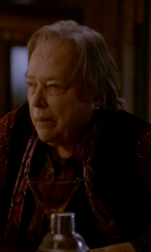 Kathy Bates with Foxcroft Block Print Long Sleeve Shirt in American Horror Story