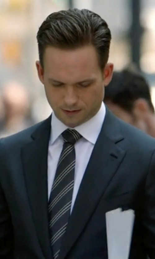 Patrick J. Adams with Armani Collezioni Pique and Twill Diagonal Stripe Tie in Suits
