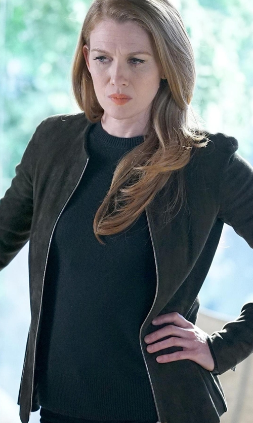 Mireille Enos with Andrew Marc Leigh Suede Bomber Jacket in The Catch