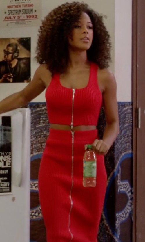 Serayah with Alexander Wang 2 Way Zip Long Skirt in Empire