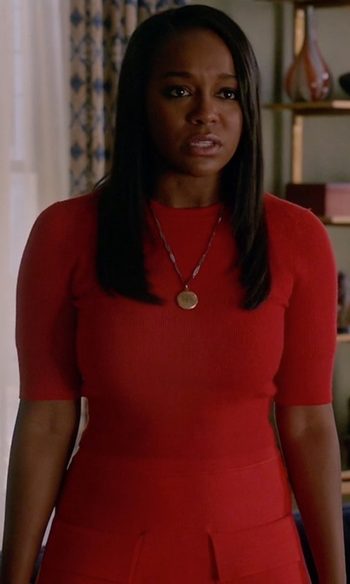 Aja Naomi King with MCQ Alexander McQueen Shortsleeved Skater Dress in How To Get Away With Murder