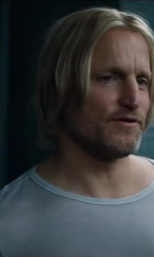 Woody Harrelson with Orlebar Brown Mélange Crewneck Tee in The Hunger Games: Catching Fire
