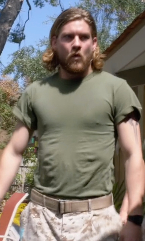 Jake Weary with Zanerobe  Relaxed-Fit Rugger Tee in Animal Kingdom