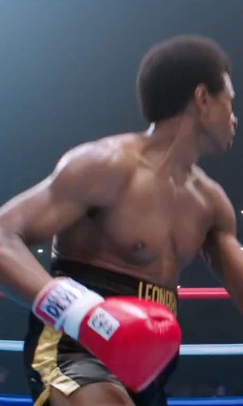 Usher Raymond with Title Boxing Classic Edge Satin Boxing Trunks in Hands of Stone