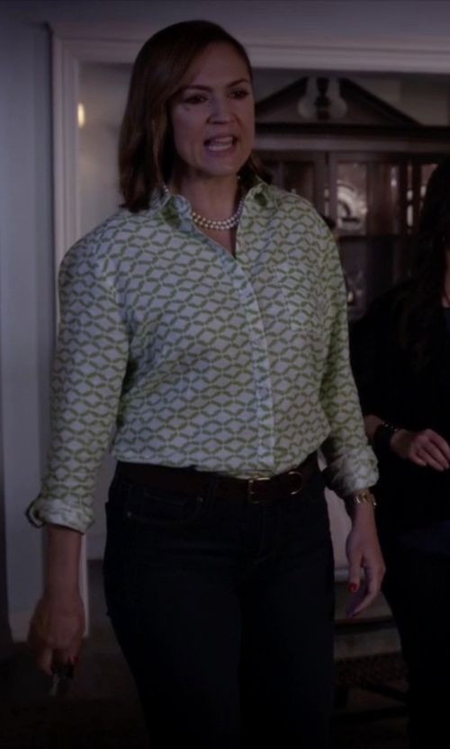 Lesley Fera with Equipment Trail Print Blouse in Pretty Little Liars