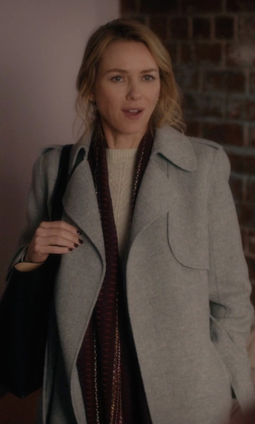 Naomi Watts with Theory 'Oaklane DF New Divid' Wool & Cashmere Trench Coat in Gypsy