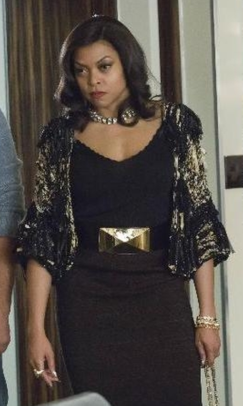 Taraji P. Henson with Eileen Fisher Textured Cropped Cardigan in Empire