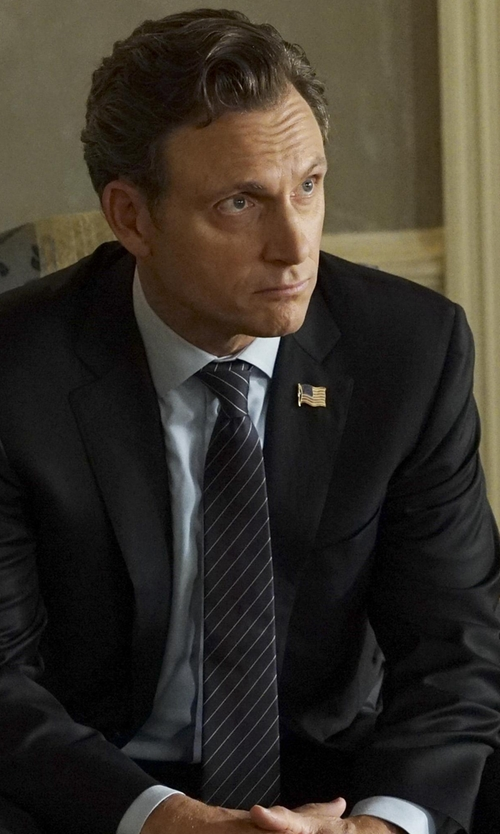 Tony Goldwyn with Junya Watanabe Comme Des Garçons Man Striped Pointed Tip Tie in Scandal