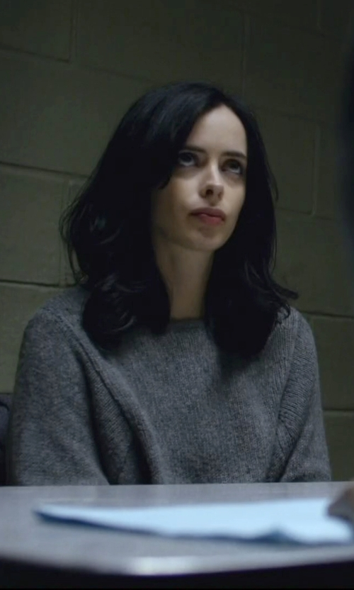 Krysten Ritter with Unif Two-Tone Ribbed Sweater in Jessica Jones