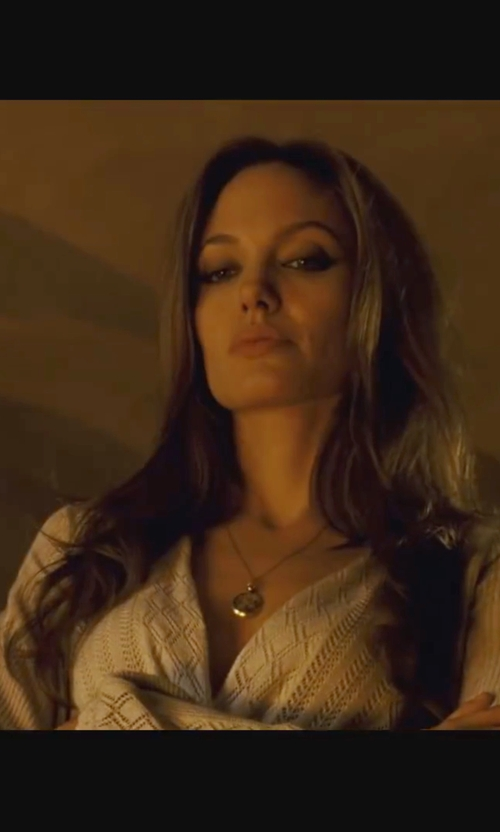 Angelina Jolie with Just Cavalli Chevron Sheer Hi-Lo Blouse in Wanted
