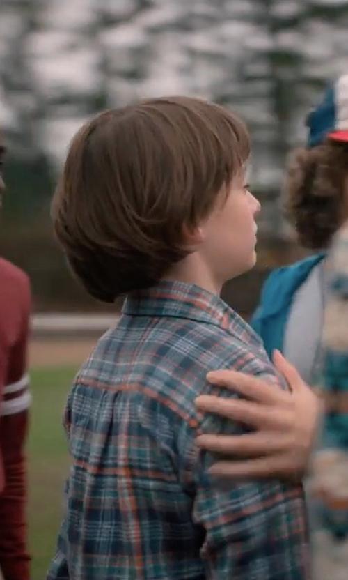 Noah Schnapp with Peter Millar Plaid Long-Sleeve Sport Shirt in Stranger Things