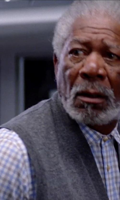 Morgan Freeman with Hugo Boss Slim-Fit Plaid Dress Shirt in Transcendence