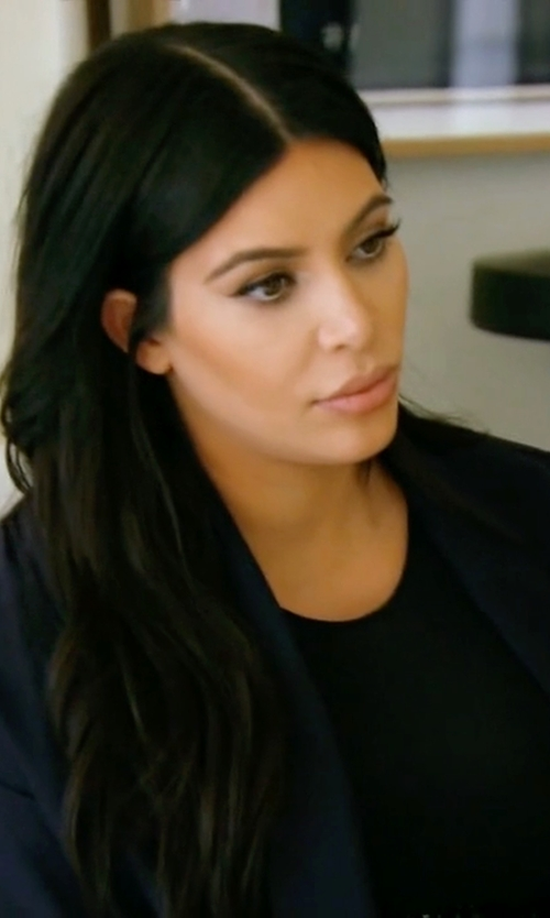 Kim Kardashian West with Juan Carlos Obando Custom Shawl-Lapel Silk-Charmeuse Coat in Keeping Up With The Kardashians