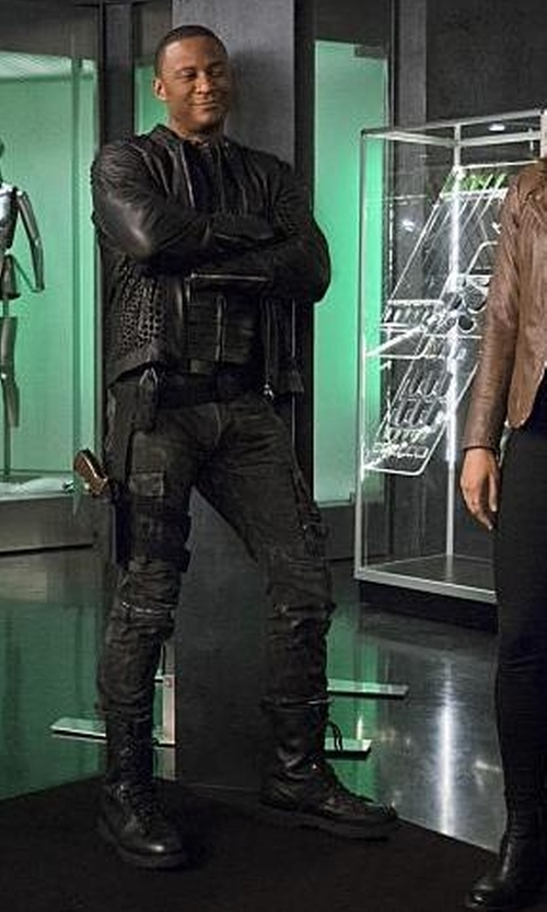 David Ramsey with Maya Mani (Costume Designer) Custom 'Diggle' Costume in The Flash