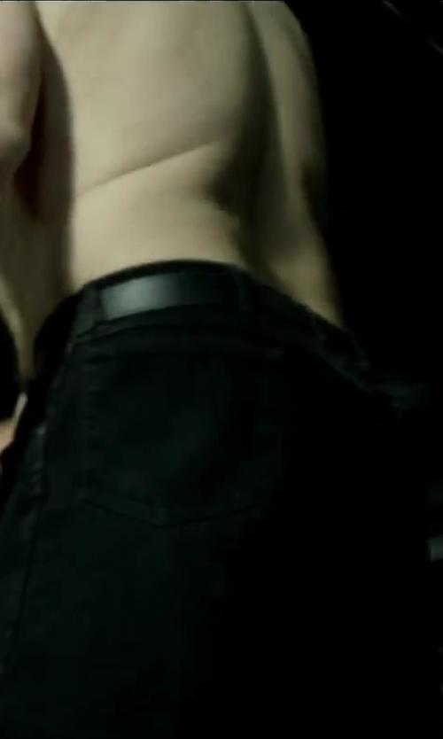 Robert Maillet with Bullhead Denim Co Gravels Slim Black Twill Pants in Brick Mansions