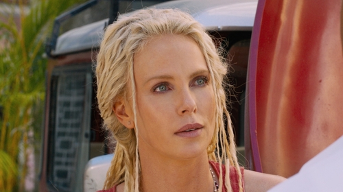 Charlize Theron with Sarah Loertscher Micro Line Earrings in The Fate of the Furious