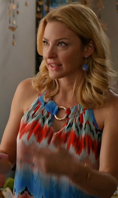 Tabrett Bethell with AB Studio Print Mock-Layer Chiffon Tank in Mistresses