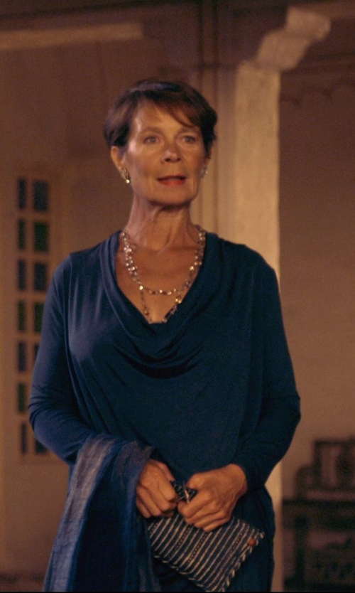 Celia Imrie with Ben-Amun Jewelry Swarovski Crystal Cluster Clip-On Earrings in The Second Best Exotic Marigold Hotel