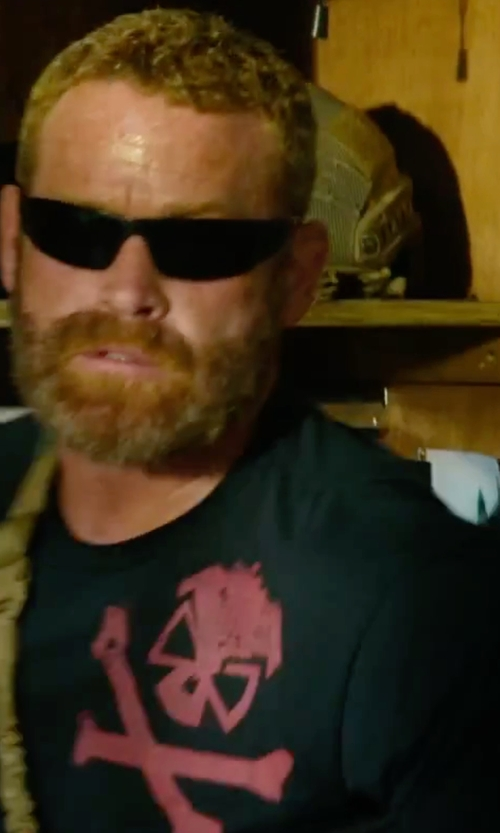 Max Martini with Pipe Hitters Union Security Round Shirt in 13 Hours: The Secret Soldiers of Benghazi