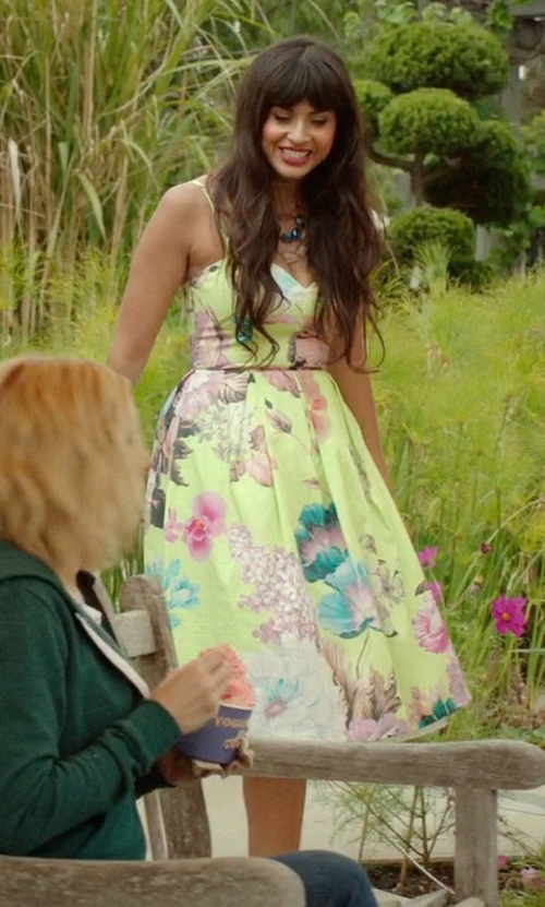 Jameela Jamil with Ason Salon Lime Floral Bandeau Midi Prom Dress in The Good Place