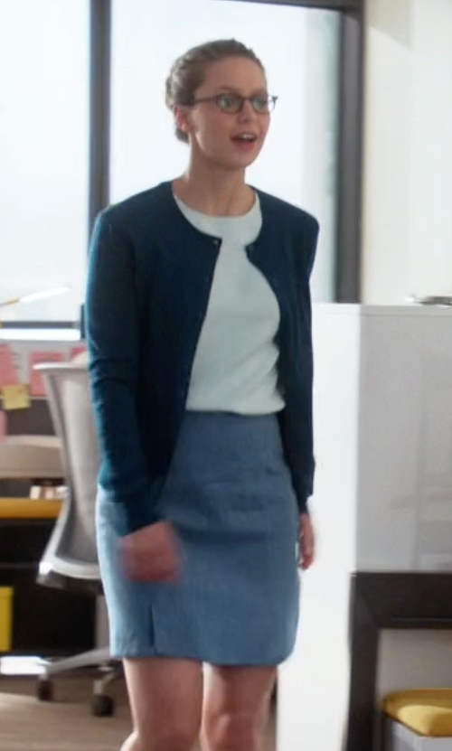 Melissa Benoist with Armani Collezioni High-Rise Wool-Crepe Pencil Skirt in Supergirl