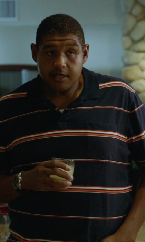 Omar Benson Miller with Cutter & Buck Rudder Stripe DryTec Golf Polo Shirt in Ballers