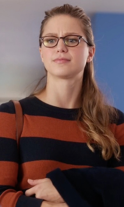 Melissa Benoist with Banana Rebublic Rugby Stripe Crew Sweater in Supergirl