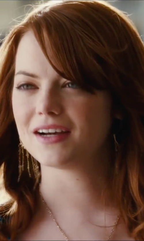 Emma Stone with Rebecca Minkoff Fringe Chandelier Earrings in Easy A
