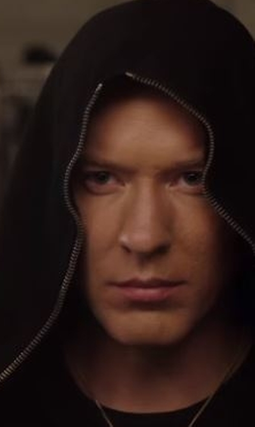 Joseph Sikora with Just Cavalli Leather-Trim Zip Hoodie in Power