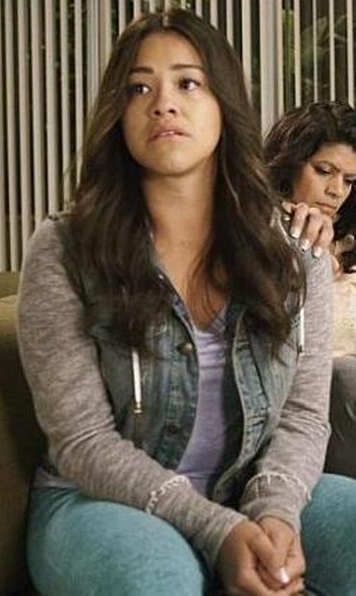 Gina Rodriguez with Free People  Denim & Knit Jacket in Jane the Virgin