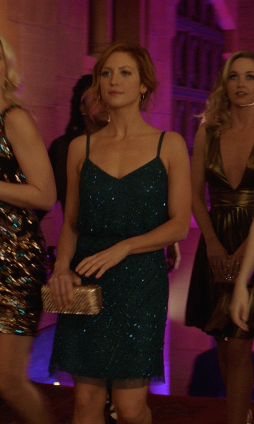 Brittany Snow with Adrianna Papell (Modified) Sequin Blouson Maxi Dress in Pitch Perfect 3