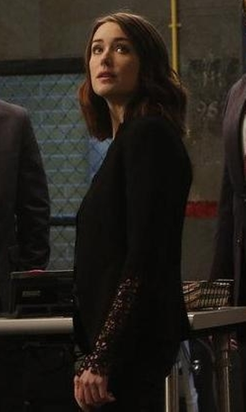 Megan Boone with Haute Hippie We Will Meet Again Laced Crepe Blazer in The Blacklist