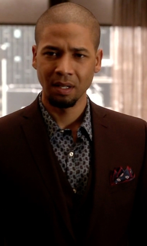 Jussie Smollett with Asos Slim Fit Vest In Burgundy Pindot in Empire