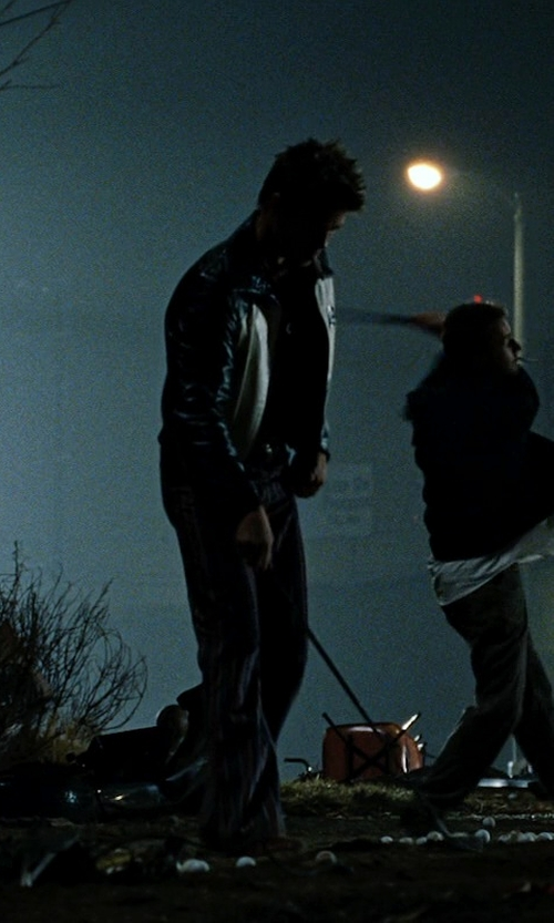 Brad Pitt with Vince Camuto Leather Jacket in Fight Club