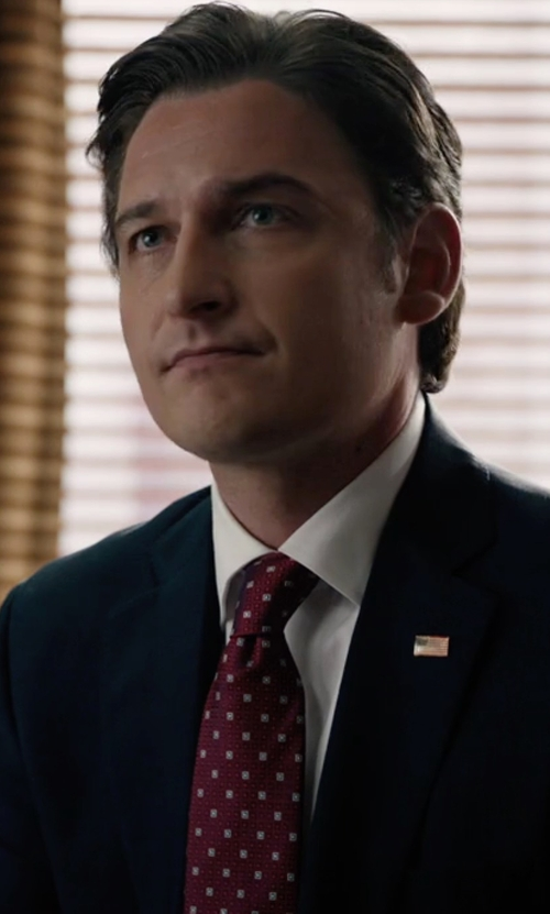 Toby Leonard Moore with Versace Men's Slim Silk Necktie in Billions