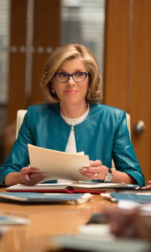 Christine Baranski with Laundry By Shelli Segal Long Ponte Open-Front Jacket in The Good Wife