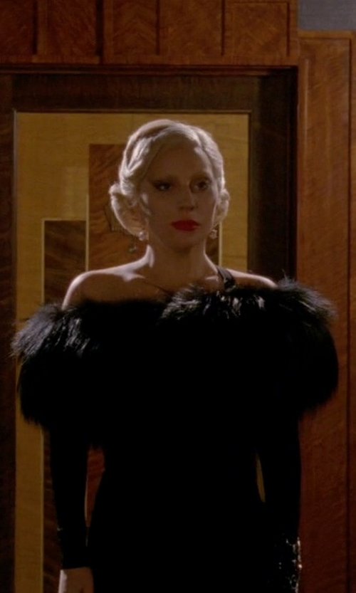Lady Gaga with Armani Collezioni Vestini Off-The-Shoulder Dress in American Horror Story