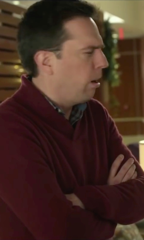 Ed Helms with Tasso Elba Shawl Collar Sweater in Love the Coopers