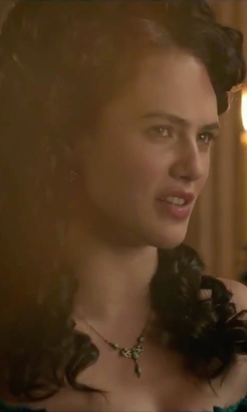 Jessica Brown Findlay with Lana Blanca Small Mother-Of-Pearl Earrings in Victor Frankenstein