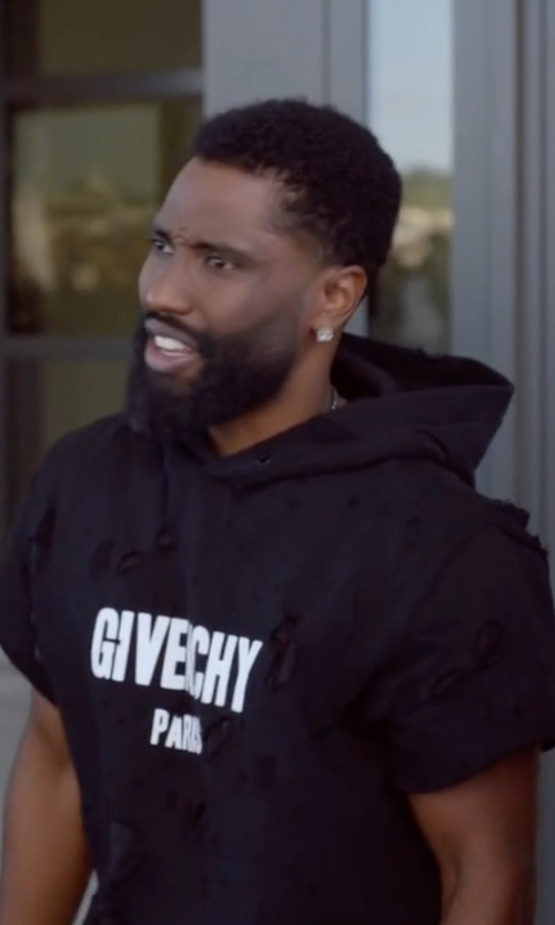 John David Washington with Givenchy Distressed Logo-Print Hoodie in Ballers