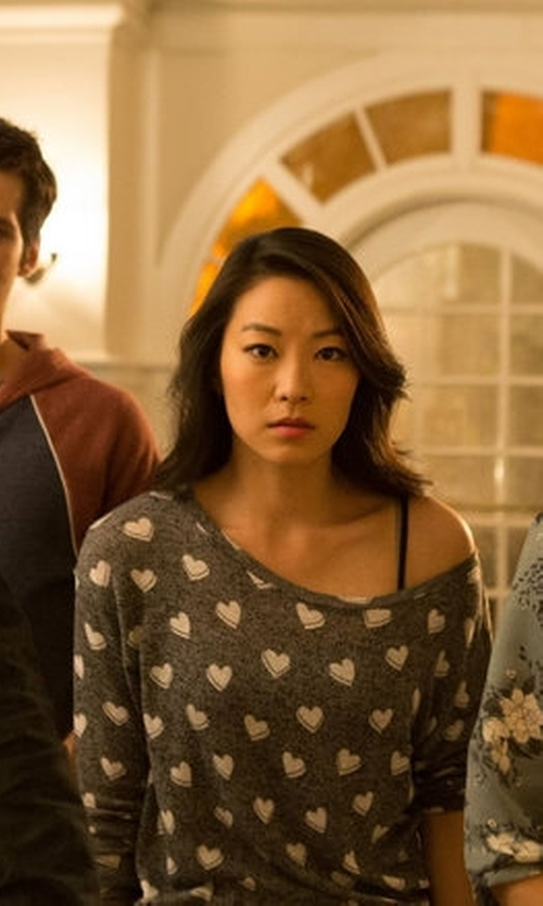 Arden Cho with H&M Slouchy Heart Sweater in Teen Wolf