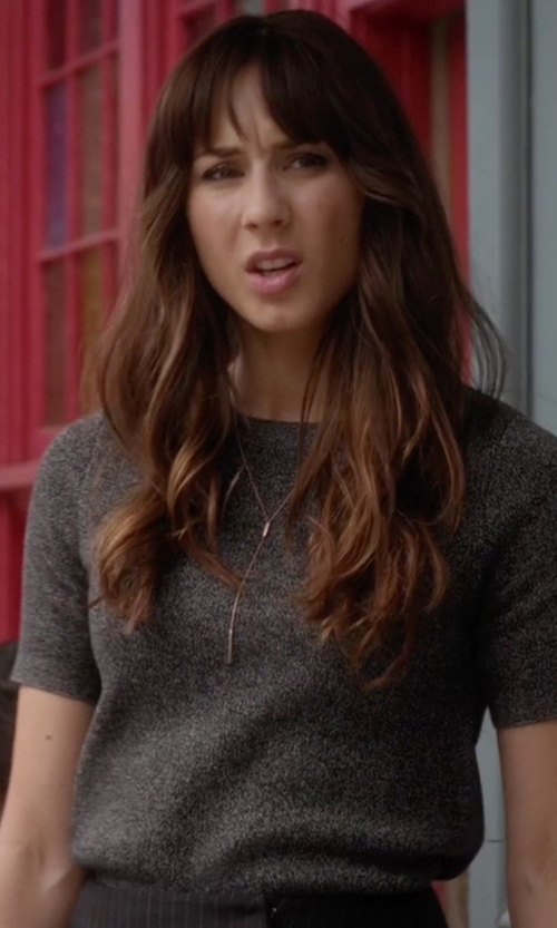 Troian Bellisario with C by Bloomingdale's Short Sleeve Cashmere Sweater in Pretty Little Liars