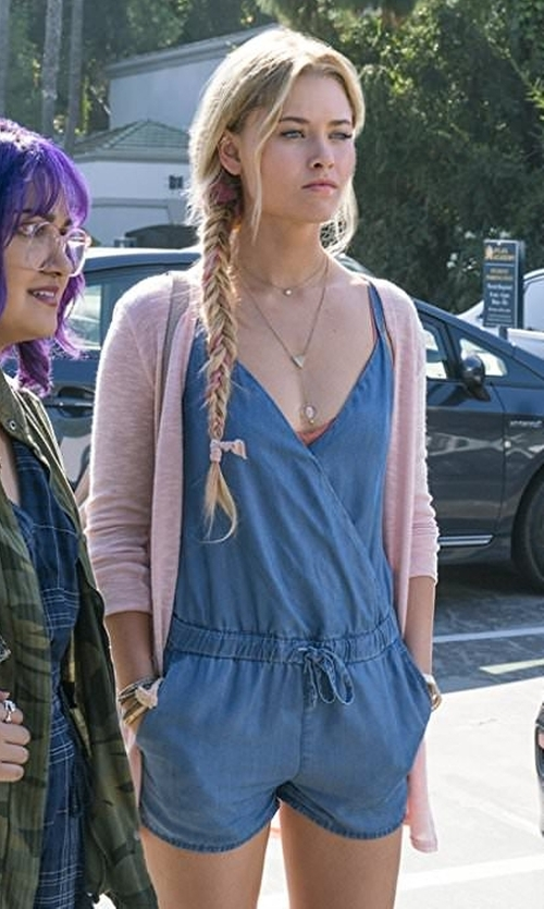 Virginia Gardner with 7 For All Mankind Sleeveless Zip-Front Romper in Marvel's Runaways