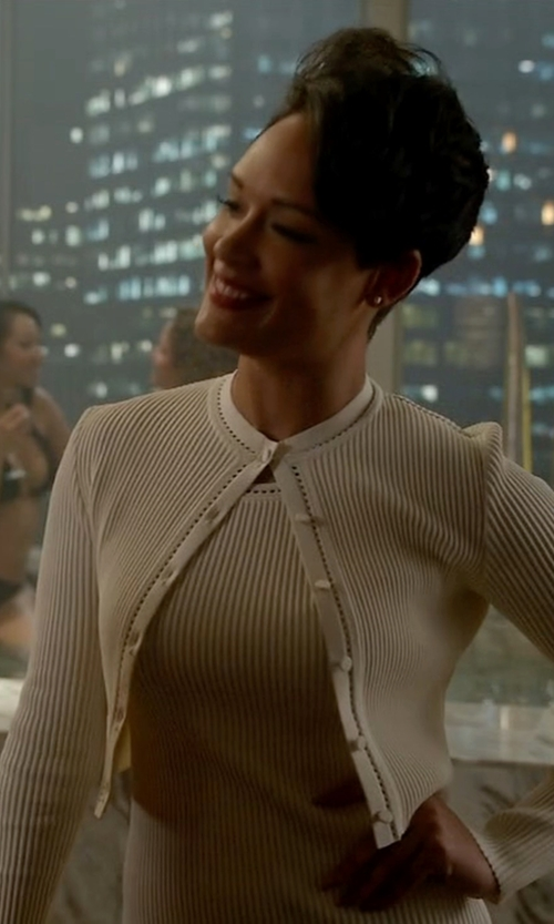Grace Gealey with Gucci Pearl Viscose Sleeveless Dress in Empire