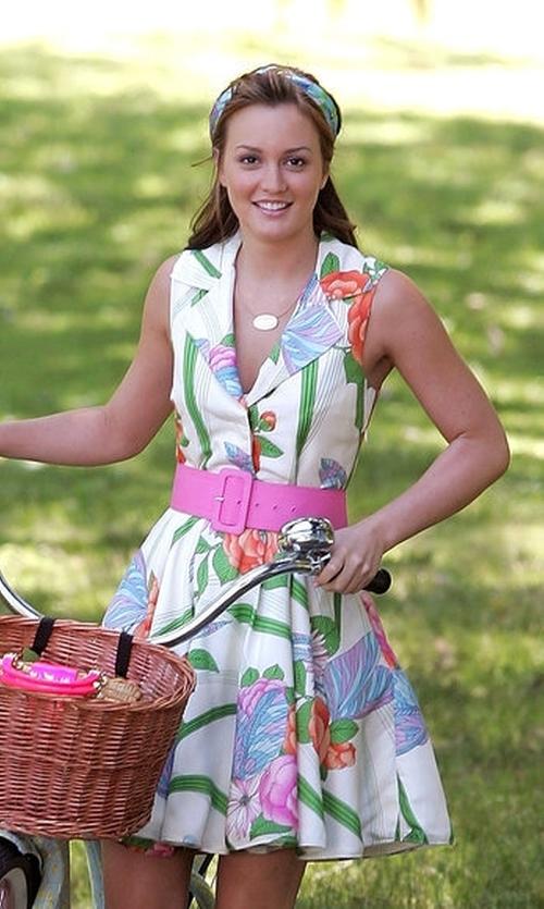 Leighton Meester with Alice + Olivia  Garden Party Dress in Gossip Girl