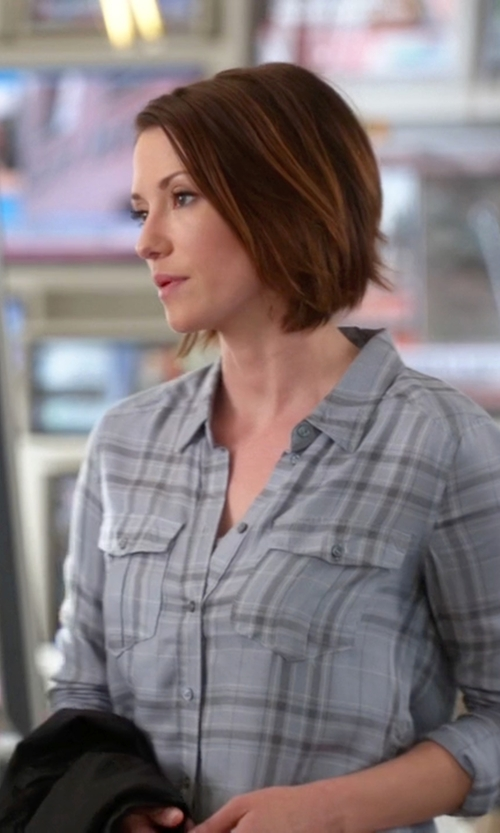 Chyler Leigh with Paige Denim 'Mya' Plaid Shirt in Supergirl