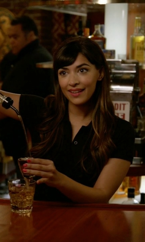 Hannah Simone with Galliano Polo Shirt in New Girl