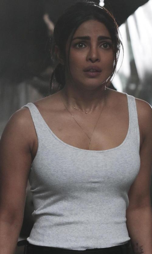 Priyanka Chopra with La Perla New Project Scoop-Neck Tank Top in Quantico